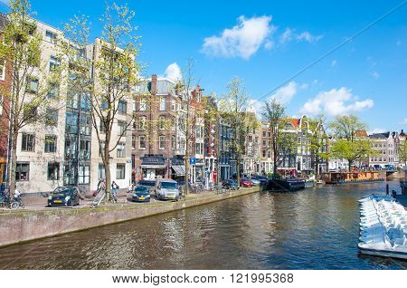 AMSTERDAM-APRIL 30: The Prinsengracht canal (Prince's Canal) on April 30,2015. Prinsengracht is the third and outermost of the three main canals: Herengracht, Prinsengracht, and Keizersgracht.