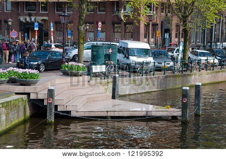 AMSTERDAM-APRIL 30: One point of the Homomonument by Karin Daan on April 302015 the Netherlands. The Homomonument is a memorial in the centre of Amsterdam near the historic Westerkerk church.