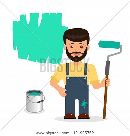 Male painter paints the wall. The isolated character of a man with a roller and a bucket of paint on