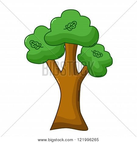 Oak Tree Icon, Cartoon Style