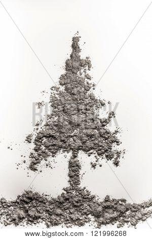 Pine tree shape made of grey ash