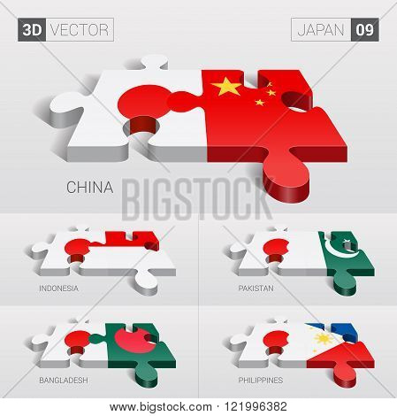 Japan and China, Indonesia, Pakistan, Bangladesh, Philippines Flag. 3d vector puzzle. Set 09.