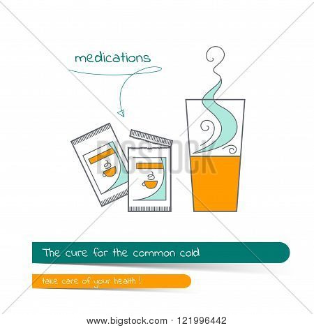 Flat Line Illustration On The Subject Of The Treatment Of Colds.