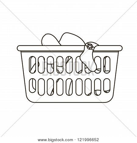 Thin line icon of laundry basket with dirty clothes. Black and white