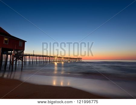 Fishing Pier at Twilight on the Outer Banks of North Carolina