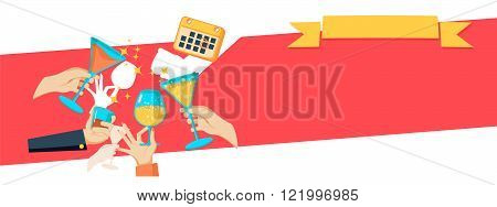 Celebration background with hands holding drinks