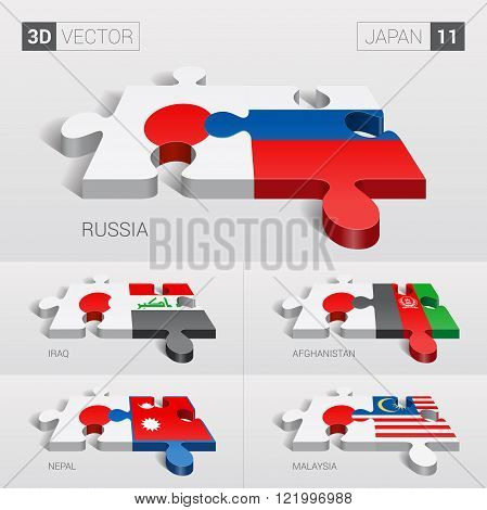 Japan and Russia, Iraq, Afghanistan, Nepal, Malaysia Flag. 3d vector puzzle. Set 11.