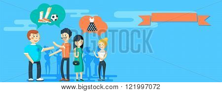 Friends and friendly relationship social team banner isolated vector illustration