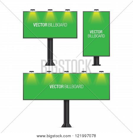 Vector billboard. Set of realistic vector billboards in different sizes. Green billboard.