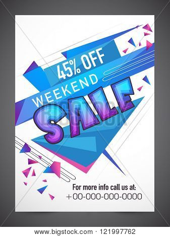 Weekend Sale Flyer, Banner or Pamphlet with 45% discount offer.