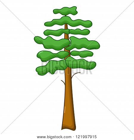 Pine Tree Icon, Cartoon Style