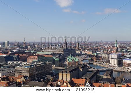 Copenhagen Skyline View from Vor Frelsers Kirke
