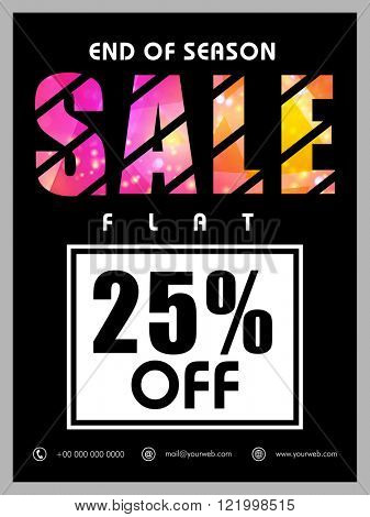End of Season Sale Banner, Sale Poster, Sale Flyer, Sale Vector. Flat 25% Off, Sale Background. Vector illustration.