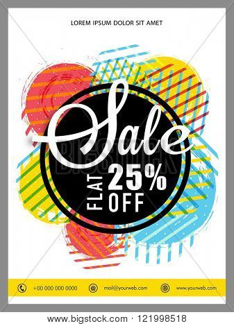 Sale Banner, Sale Poster, Sale Flyer, Sale Vector. Flat 25% Off, Sale Background.  Vector illustration.