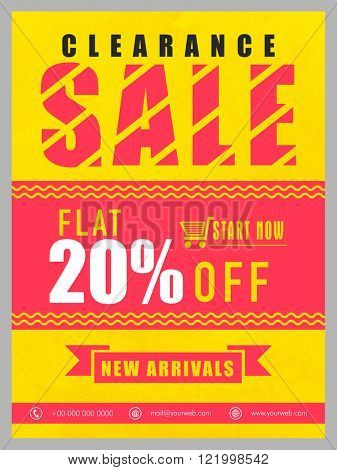 Clearance Sale Banner, Sale Poster, Sale Flyer, Sale Vector. 25% Off, Sale Background, New Arrivals. Vector illustration.