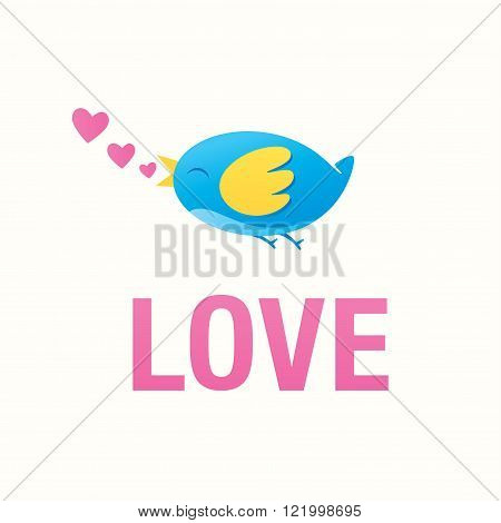 Love illustration, with colorful bird an hearts.