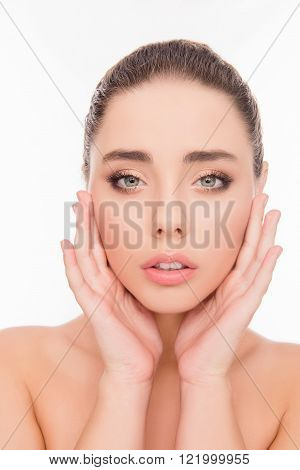 Close Up Portrait Of Sensitive Beautiful Girl Touching Her Face