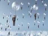Постер, плакат: бизнесмен полет на воздушном шаре