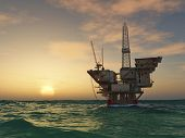 picture of oil rig  - Sea Oil Rig Drilling Platform - JPG