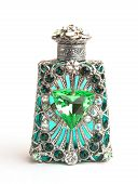 image of perfume bottles  - glamourous beautifully made green glass perfume bottle - JPG
