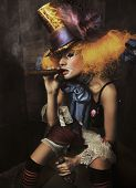 image of insane  - Fine art photo of a bad clown - JPG