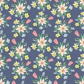 Seamless colorful vector pattern with spring flowers.