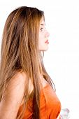 foto of red hair  - Profile of young beautiful girl with long hair isolated on white - JPG