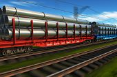 picture of high-speed  - Industrial view of high speed freight train with metal pipes - JPG