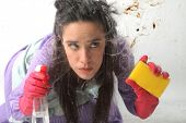 stock photo of house cleaning  - an housewife cleaning a dirty glass - JPG