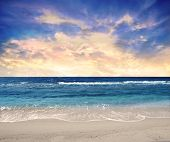 image of beach sunset  - Sunset over the sea - JPG