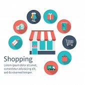 Shopping Store With Shopping Icons, Shopping Concept. poster