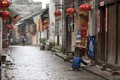 XINGPING, CHINA - MAY 20: A quiet morning before the bustling activities start in this rustic thousa