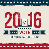 Vote Presidential Election card, Presidential Election Poster Design. 2016 USA presidential election poster