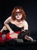foto of brothel  - red woman on man  - JPG