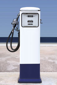 picture of fuel pump  - Ancient gas pump in the setting of an retro gas station - JPG