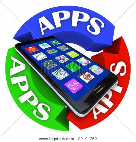 A modern smart phone with app application icons on its display surrounded by arrows in a circle showing the word Apps