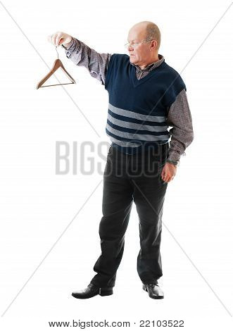 Confident Man In Glasses Holds Empty Cloth Hanger