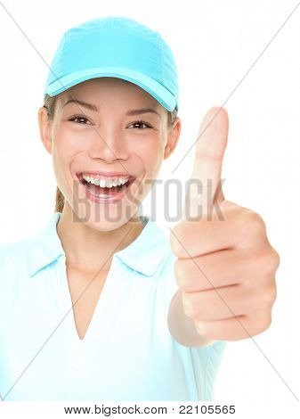 Sporty happy woman showing thumbs up success hand sign cheerful wearing sporty cap. Fresh photo of Asian Caucasian female athlete isolated on white background.