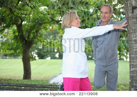 Aged Couple jogging