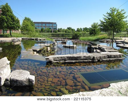 Reflection Pool or Pond Area in summer at Prarie Center in Hoffman Estates