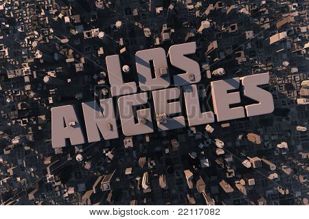 Top View Of Urban City In 3D With Name Los Angeles