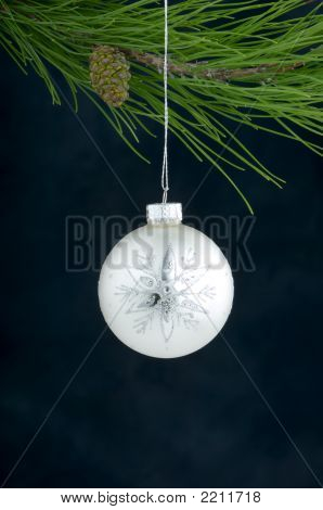 A Silver Hanging Christmas Ornament