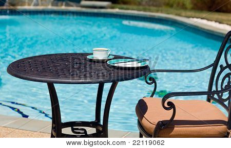 Breakfast By The Pool On Sunny Day