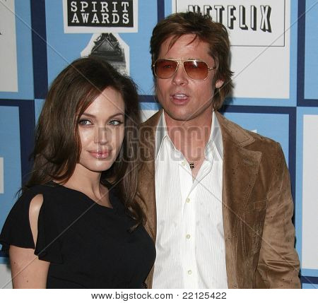 SANTA MONICA - FEB 23: Brad Pitt and Angelina Jolieat the 2008 Independent Spirit Awards held on the beach in Santa Monica, California on February 23, 2008