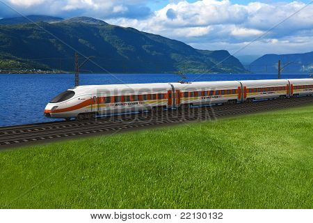 High speed train passing by the mountains and flords