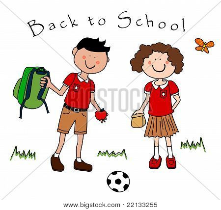 Couple Of Kids Going Back To School