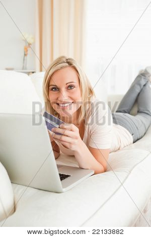 Portrait Of A Cute Woman Purchasing Online