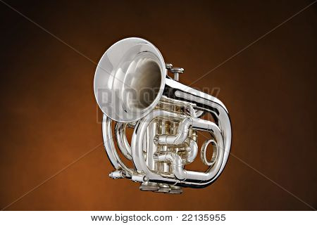 Silver Trumpet Isolated On Gold