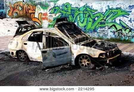 Burnt Car With Graffiti