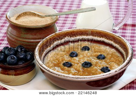Healthy Oatmeal, Blueberries And Brown Sugar.